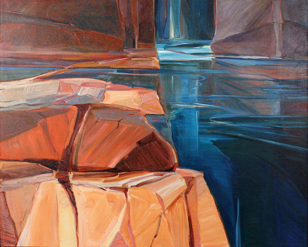 Joella Jean Mahoney, Canyon Reflections, 1983, oil on canvas, 48 x 60 inches. MNA Fine Arts Collection #IL2013-5-1.