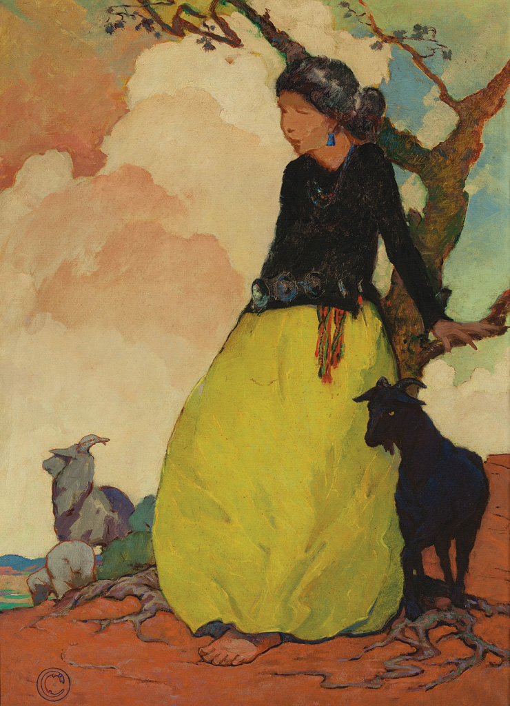 Mary-Russell Ferrell Colton, Navajo Shepherdess, c. 1916, oil on canvas, 36 x 26 inches, Museum of Northern Arizona Fine Arts Collection, C869.