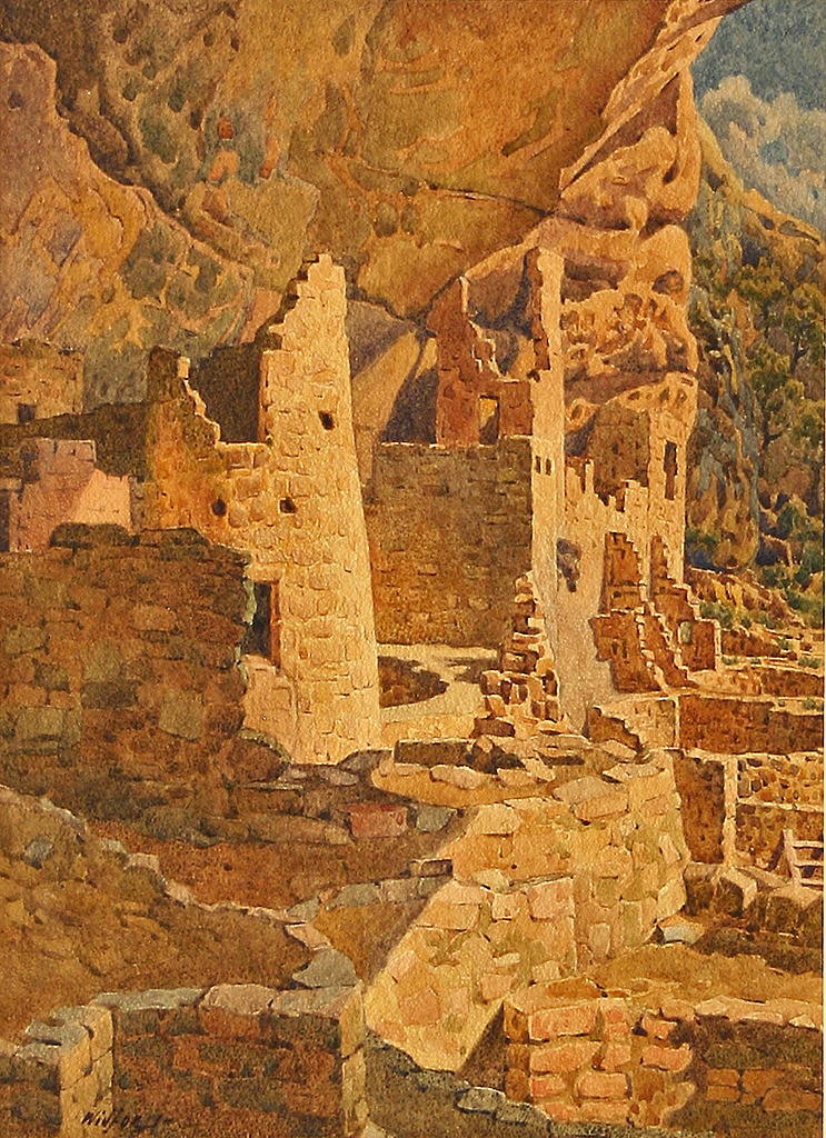 Gunnar Widforss, Mesa Verde, Cliff Palace, c. 1925, watercolor, 13 x 10 inches. MNA Fine Arts Collection, C1619.