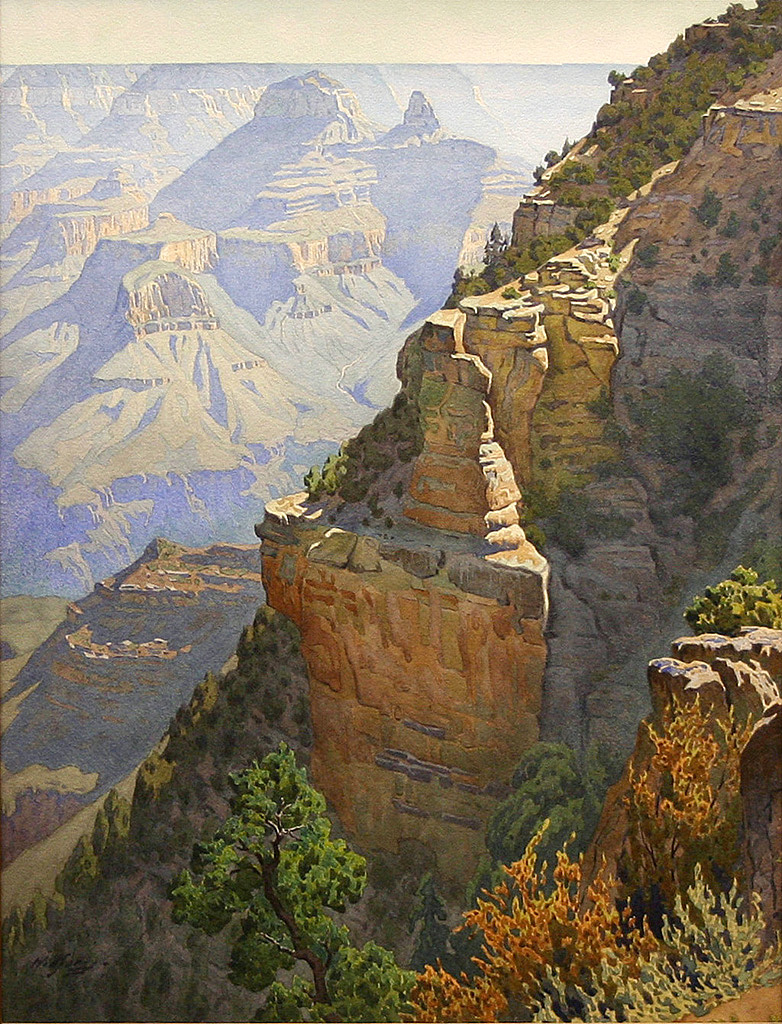 Gunnar Widforss, On the Trail to Grandeur Point, watercolor, 27 x 22 inches. Museum of Northern Arizona Fine Arts Collection, #C816.