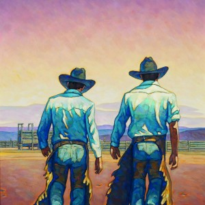 Painting of Two Riders by Howard Post