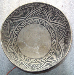 MNA Babbitt Collection, Walnut black on white bowl, AD 1200'sThis bowl has a design that resembles cotton textiles.