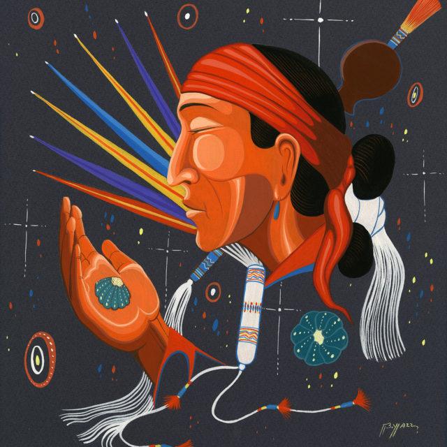 painting | Peyote Man | watercolor | opaque | mat | frame | C.Lockett #84 | Beatien Yazz | Navajo | ca. 1960