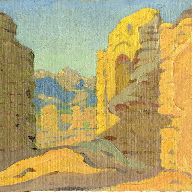 painting | A View of Mission Ruins | oil | canvas | Mary-Russell Ferrell Colton | anglo | Mary-Russell Ferrell Colton