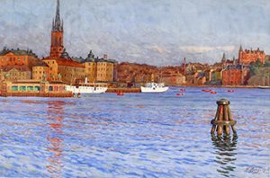 Riddarholm Kyrka and Harbor Scene, 1914, Watercolor, 17 3/4 x 21 3/4 inches (45.1 x 55.2 cm)