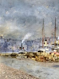 Stockholm Harbor, Winter, 1908, Watercolor and gouache on paper, 11 1/8 x 1/4 inches (28.3 x cm)