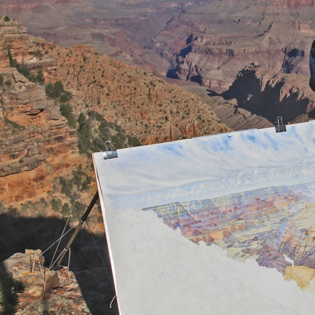 CAPTION: Tony Foster painting at Navajo Point in the Grand Canyon, Arizona, May23, 2013. Photo by Mike Buchheit. Courtesy of Foster Art & Wilderness Foundation.Painting2007.1.25Twenty-three Days Painting the Canyon--From West of Navajo Point, 2013